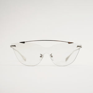 sunglasses in chrome stainless steel frames with colour changing photochromic one-piece lens before exposing to day light front