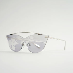 sunglasses in chrome stainless steel frames with colour changing photochromic one-piece lens exposed in day light45 angled