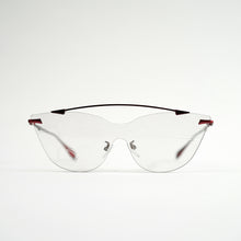 Load image into Gallery viewer, sunglasses in red stainless steel frames with colour changing photochromic one-piece lens before exposing in day light front