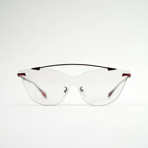 sunglasses in red stainless steel frames with colour changing photochromic one-piece lens before exposing in day light front