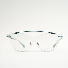 Load image into Gallery viewer, sunglasses in blue stainless steel frames with colour changing photochromic one-piece lens before exposing in day light front