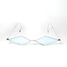 Load image into Gallery viewer, sunglasses with kite shaped light blue colour lens and silver frames front