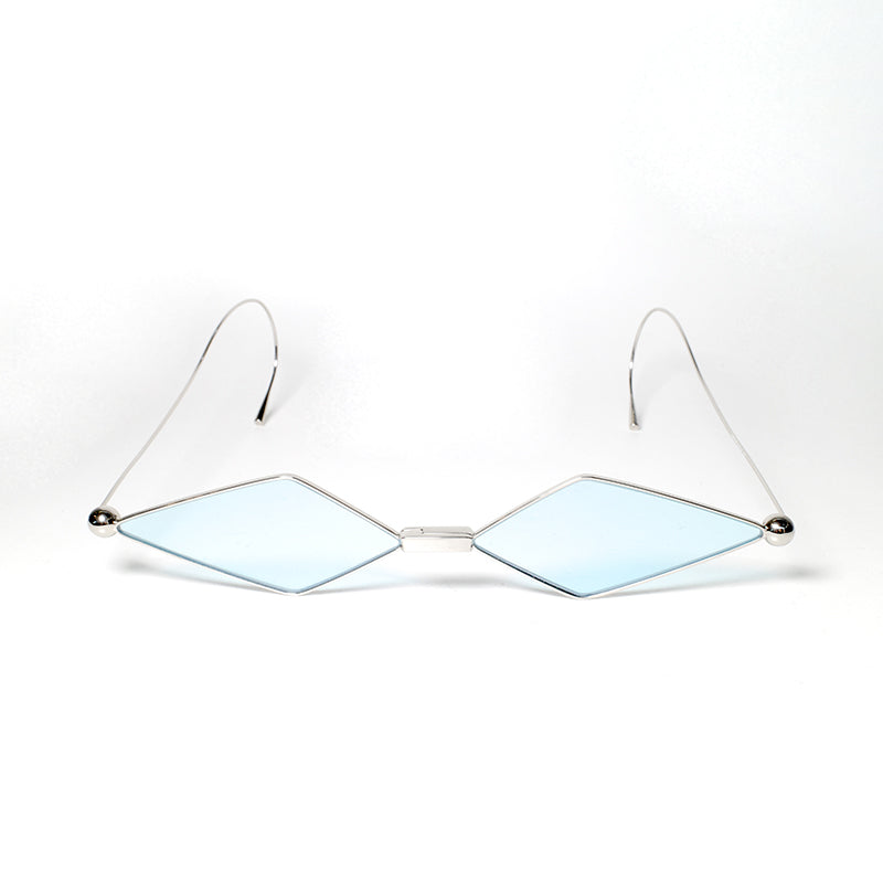 sunglasses with kite shaped light blue colour lens and silver frames front