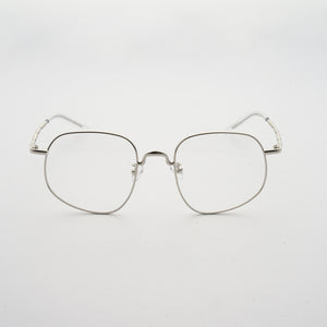chrome colour stainless steel optical frame with morse code details on the temples front