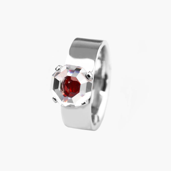 ASSCHER CUT ZIRCON WIDE BAND RING Scarlet