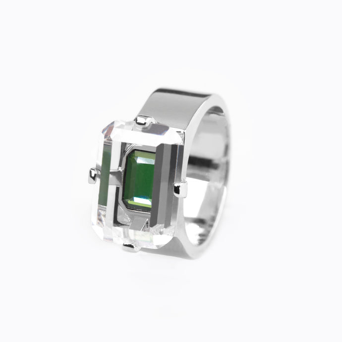 EMERALD CUT ZIRCON WIDE BAND RING Emerald