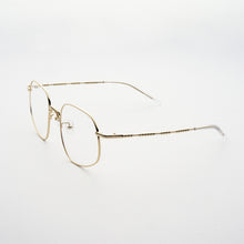 Load image into Gallery viewer, pale gold colour stainless steel optical frame with morse code details on the temples 45 angled