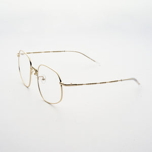 pale gold colour stainless steel optical frame with morse code details on the temples 45 angled