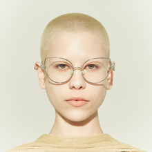 Load image into Gallery viewer, cat eye shaped lens with human hands style hinges and pearl nose pads on model front
