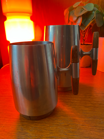 MID CENTURY MODERN RARE TEAK AND STAINLESS STEEL SWEDISH TANKARDs BY ARTHUR SALM