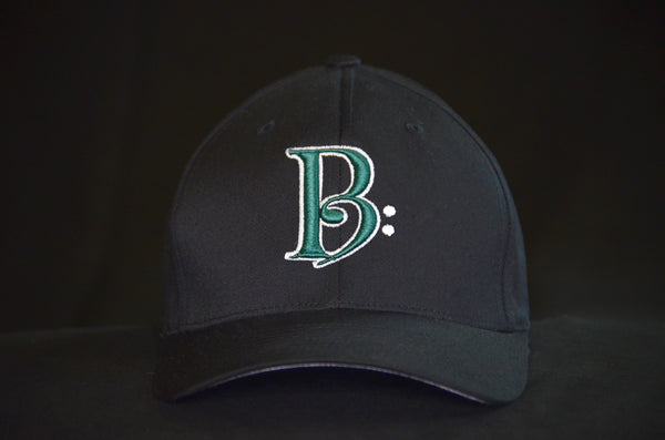 Green and White on Black Fitted