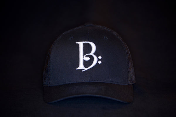 White on Black Trucker Snapback
