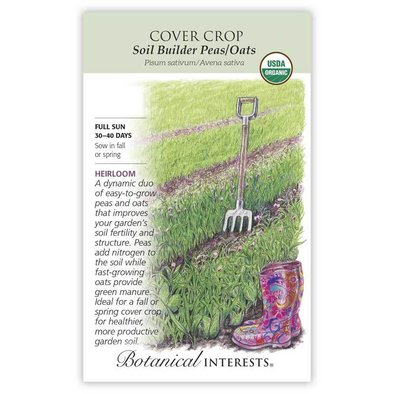 Cover Crop Soil Builder Peas and Oats Seeds Organic - LARGE