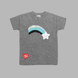 Kids Wish Bear Rainbow Grey T-shirt