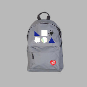 Grey Branded Bear Badges Backpack