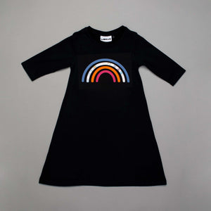 Reflective Rainbow Long Sleeved Dress Black