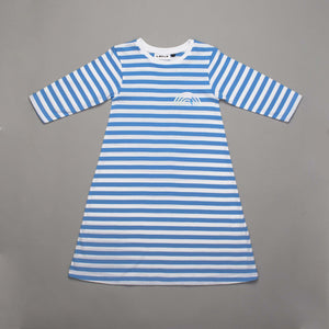 Reflective Rainbow Long Sleeved Dress Blue Stripe