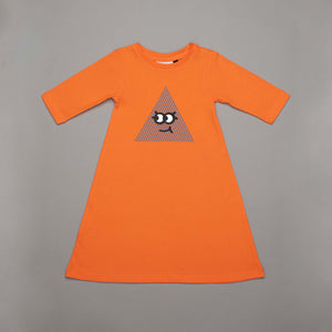 Happy Long Sleeved Dress Tangerine