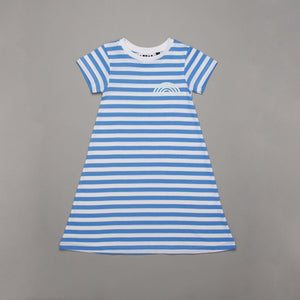 Reflective Rainbow T-shirt Dress Blue Stripe