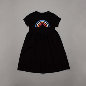 Reflective Rainbow Skater Dress Black