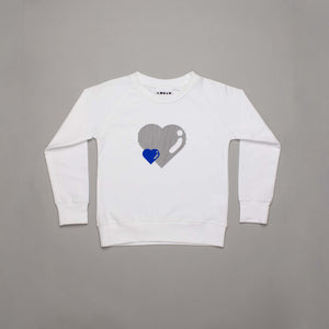 Little + Large Heart Sweatshirt White