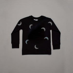 Sun Moon Polka Sweatshirt Black
