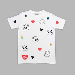 Kids Grumpy Bear Polka  White T-shirt Colouring In