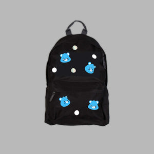 Black Grumpy Bear Polka Backpack