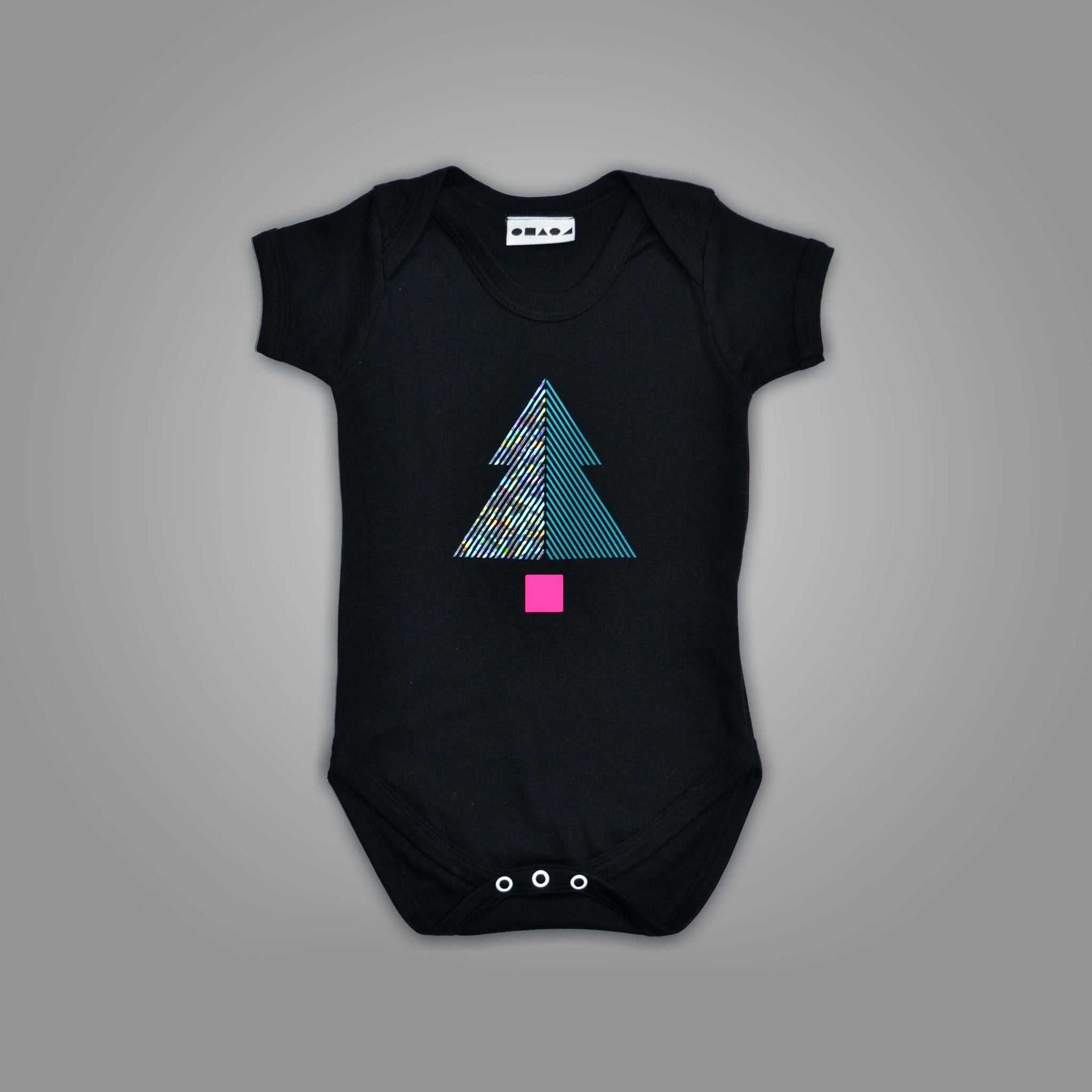 Black Tree Illusion Christmas Babygrow.