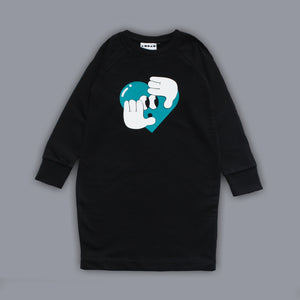 Sweatshirt Hide   Seek Heart Dress Black