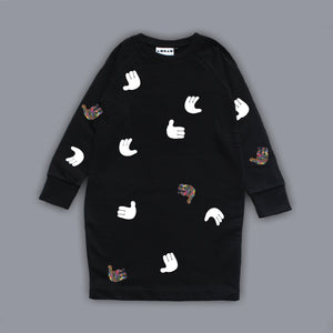 Sweatshirt Polka Hands Dress Black