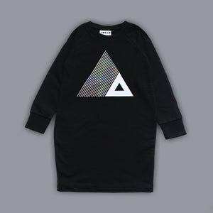 Sweatshirt Triangle Illusion Dress Black