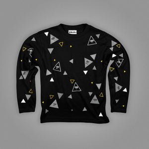 Polka Animated Triangles Long Sleeve T-Shirt