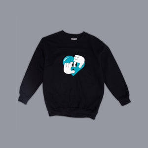 Hide + Seek Heart  Sweater Black
