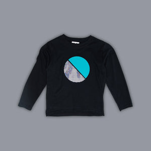 Circle Illusion Long Sleeved T-Shirt Black
