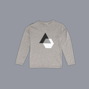 Monochrome Illusion Long Sleeved T-Shirt Grey