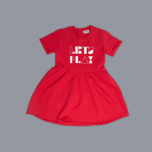 Lets Play Slogan Skater Dress Red