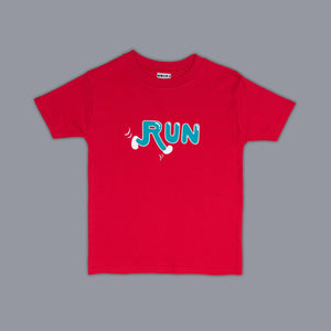 Run Slogan T-Shirt Red