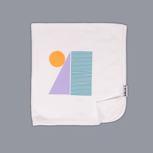 Shapes Block Blanket White