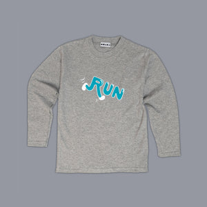 Run Slogan Long Sleeved T-Shirt Grey