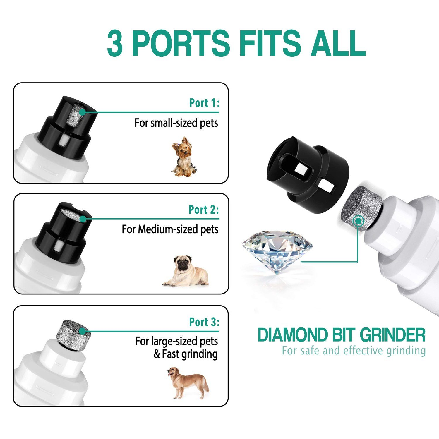 Premium Rechargeable Painless Pet Nail Grinder