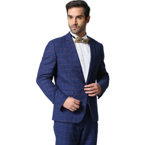 81e22dd1a8 (Jacket+Pants) Men Plaid Suits 2016 Dark Grey and Blue Fashion Brand  Designer Business Casual Slim Fit Homme 2-Piece Suit