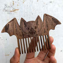 Load image into Gallery viewer, Screaming Bat Wooden Comb // only 1 left