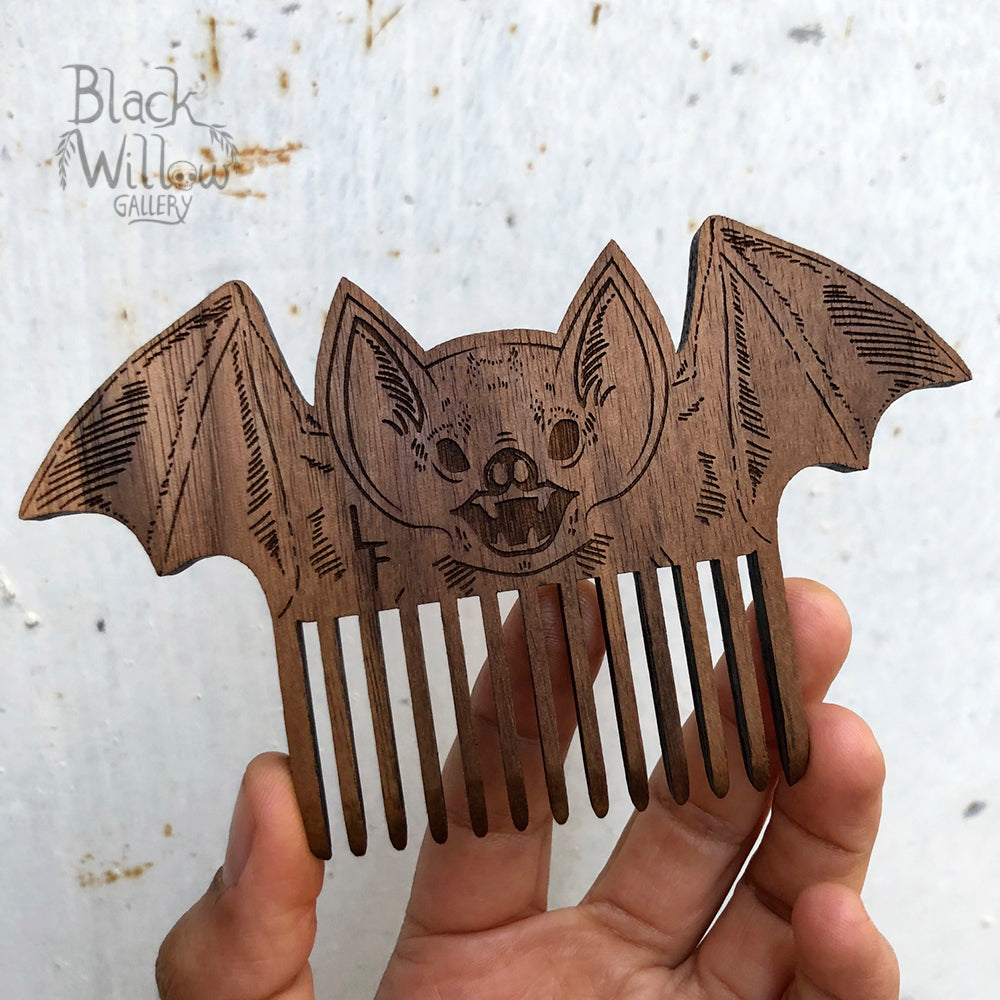 Screaming Bat Wooden Comb // only 1 left