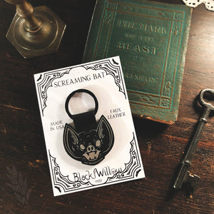 Screaming Bat Faux Leather Keychain