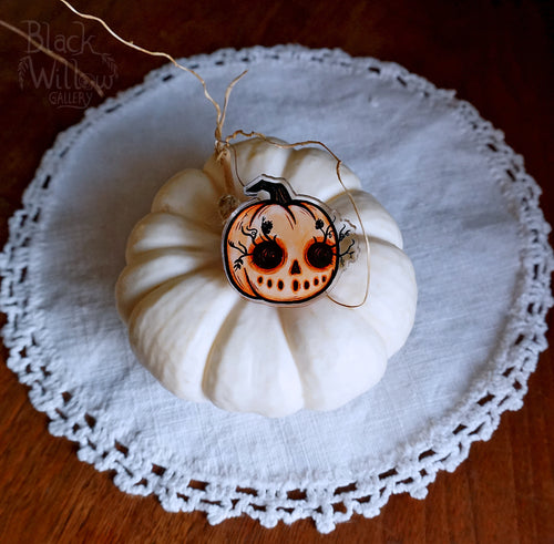 Pumpkin Lashes  Acrylic Pin