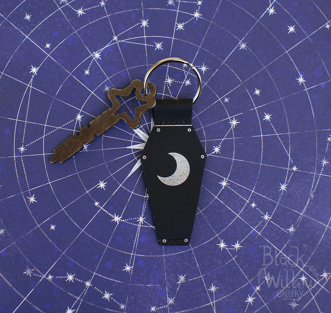 Coffin Moon Faux Leather Keychain
