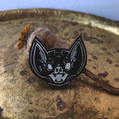 Screaming Bat Wooden Pin