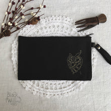 Load image into Gallery viewer, Heart of Snake Black Canvas Zipper Pouch