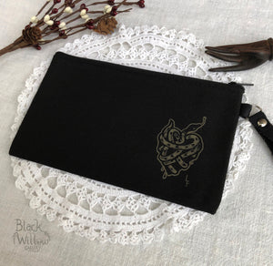 Heart of Snake Black Canvas Zipper Pouch